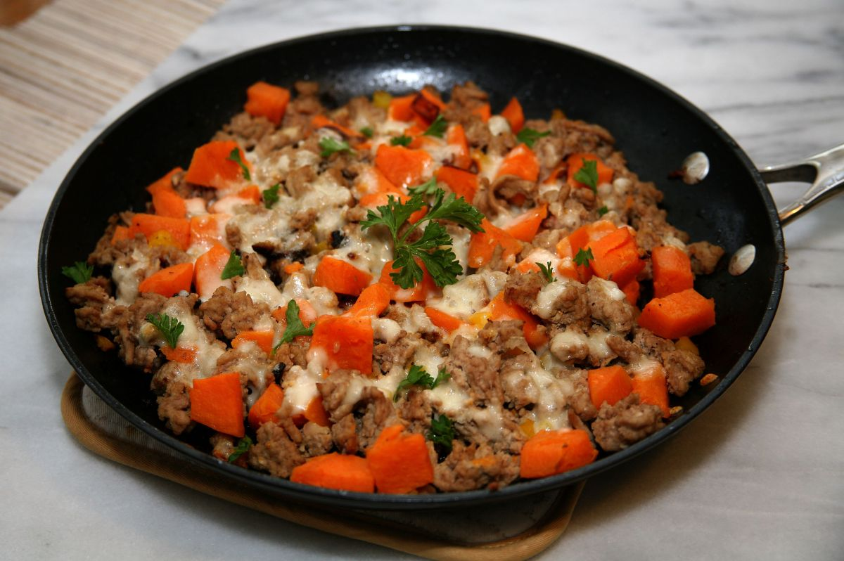 One Skillet Ground Turkey & Sweet Potato Dinner
